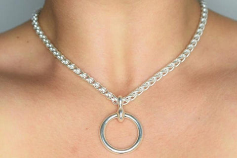 Solid 925 Sterling BDSM Heavy Makou Huge O-Ring Day Collar