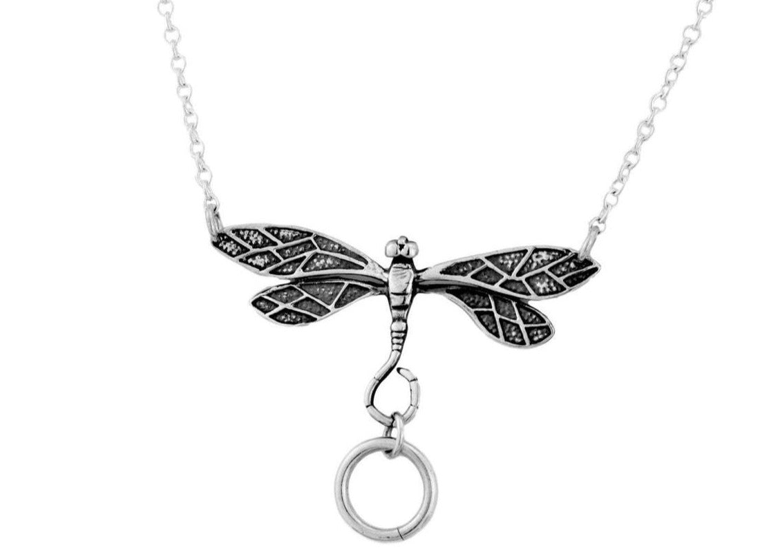 925 Sterling Silver Dragonfly O ring BDSM Day Collar   g2