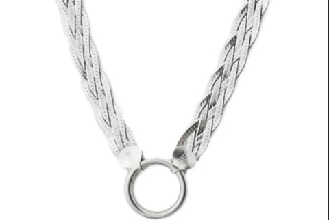 O ring Wide Strand Solid 925 Sterling Silver BDSM Day Collar    g2