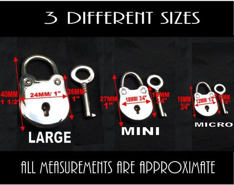 925 Solid Sterling Silver Hypoallergenic Functional Working Round Padlock Lock 925 Key BDSM Slave Sub Pet Submissive Bondage Collar