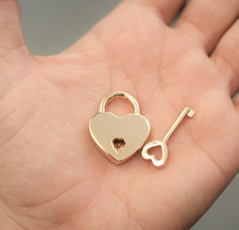 Solid 14K GOLD (Yellow, White or Rose) Functional Working Heart Shape Padlock Lock Locking & One Key BDSM Slave Sub Bondage Collar