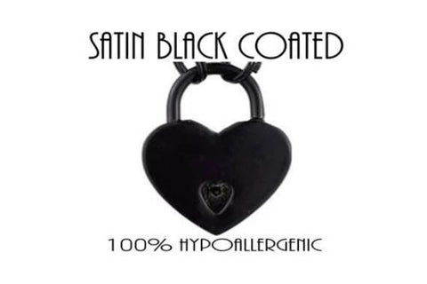 Black Coated Nickel Plated Hypoallergenic Functional Working Heart Padlock Lock w/key BDSM Slave Sub Pet Submissive for Bondage Collar