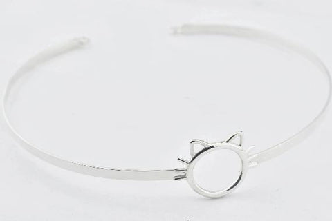 Solid 925 Hypoallergenic Sterling Silver Kitty Kitten Cuff BDSM Slave Sub Pet Bondage Locking Day Collar & Free Lock v2