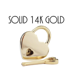 Solid 14K YELLOW GOLD Functional Working Heart Shape Padlock Lock & One Key BDSM Slave Sub Bondage Collar