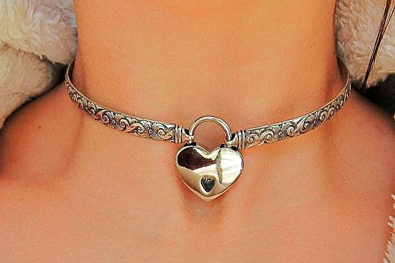 Solid 925 Sterling Hypoallergenic Silver Neck Cuff Locking BDSM Sub Submissive Pet Babygirl Slave Bondage Day Collar & FREE Lock
