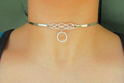 "Discreet Micro Celtic ""O"" Ring Knot Solid 925 Sterling Silver Locking BDSM Slave Submissive Sub Pet Bondage Day Collar & FREE Lock"