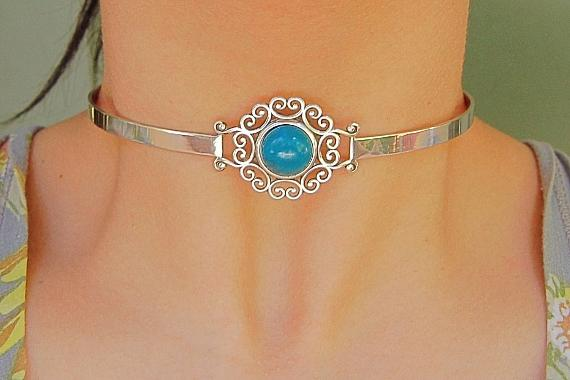 Blue Chrysocolla Solid 925 Sterling Silver Discreet Neck Cuff Locking BDSM Slave Submissive Sub Pet Baby Girl Bondage Day Collar & Lock