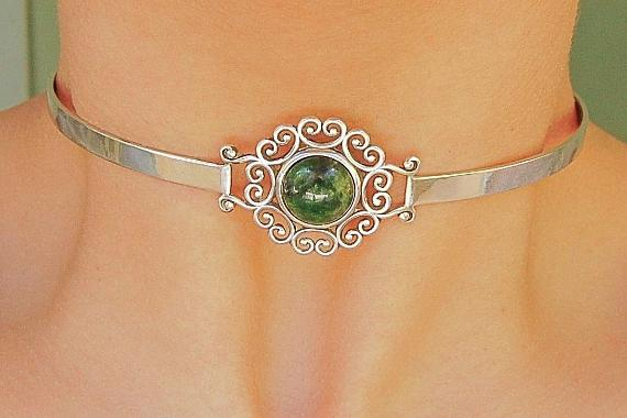 Chrome Diopside Solid 925 Sterling Silver Discreet Neck Cuff Locking BDSM Slave Submissive Sub Pet Baby Girl Bondage Day Collar & Lock