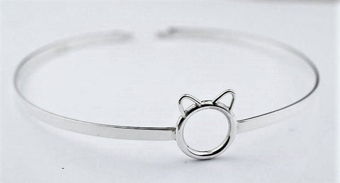 Solid 925 Sterling Silver O Ring Kitty Ears BDSM Micro Cuff Collar