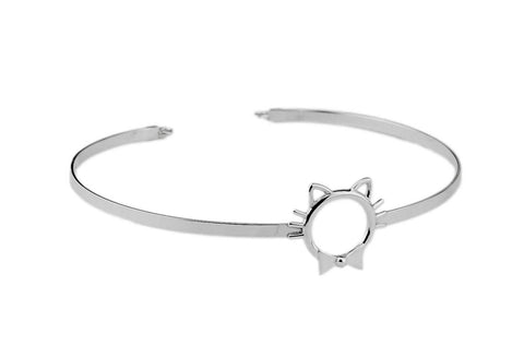 Solid 925 Sterling Silver BDSM O Ring Kitty Ears, Whiskers & Bow Cuff Collar