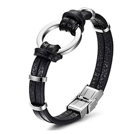 Dominant 316L Surgical Stainless Steel & High Grade Leather Bracelet with BDSM O Ring