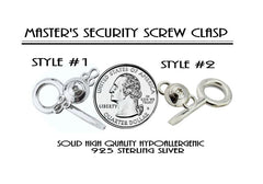 Ultra Discreet Security Hypoallergenic 925 Solid Sterling Silver Screw Lock Locking Clasp & non Allen Key BDSM