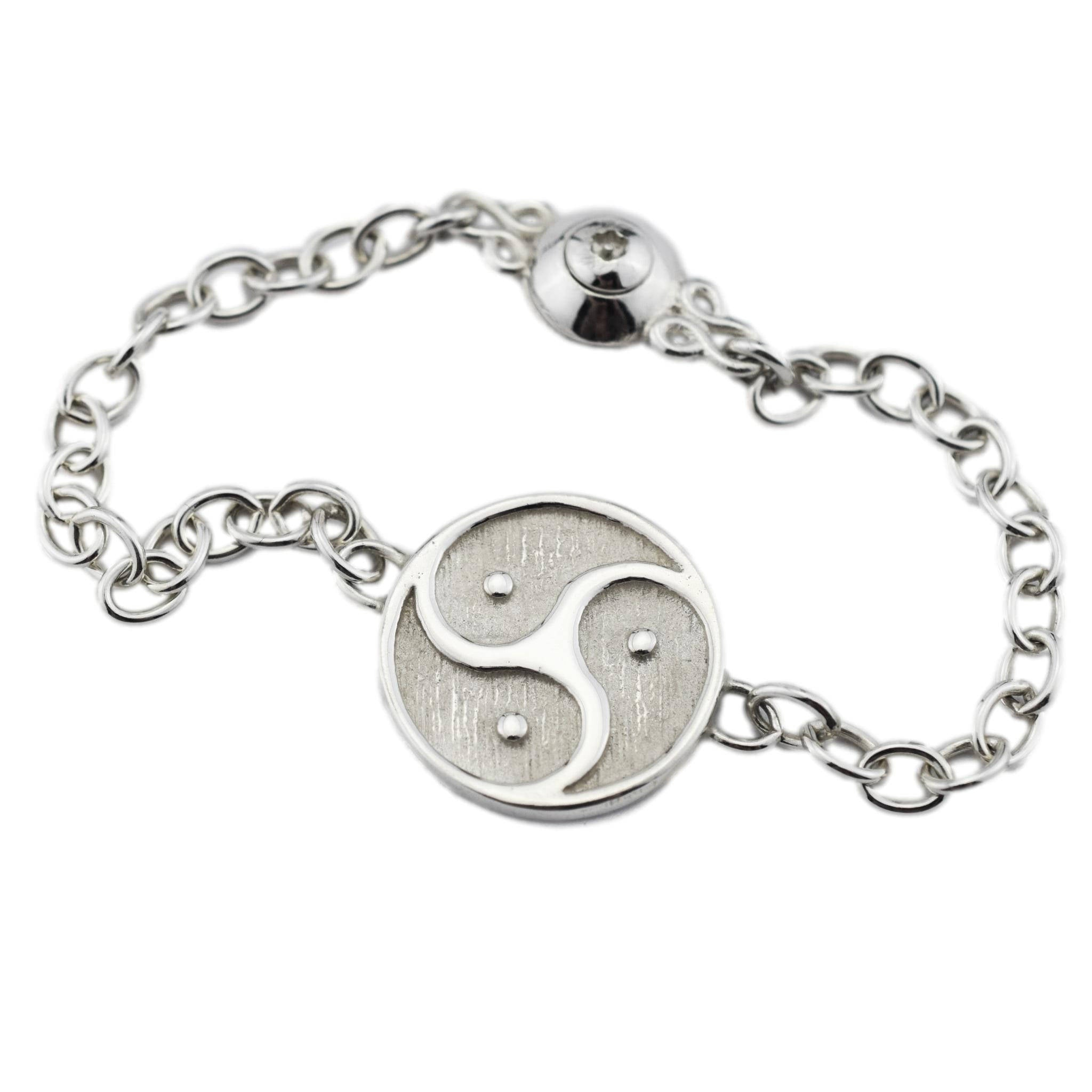 Solid 925 Sterling Silver In-line Medium Triskelion BDSM Ankle Day Collar