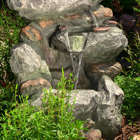 Rock Falls Fountain w/LED Lights - 34""