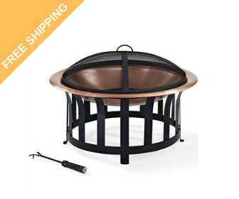 Copper Bowl Fire Pit with Poker and Spark Screen