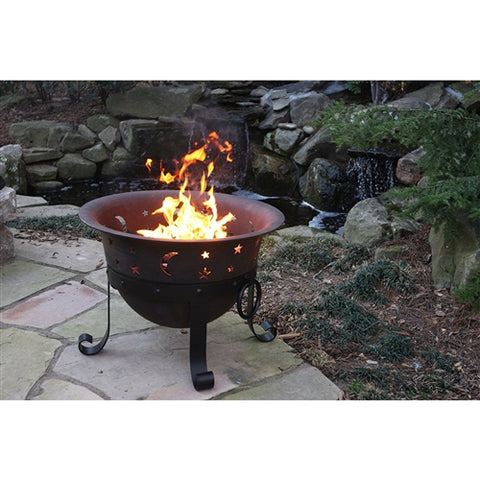 Moon & Stars Heavy-Duty Cast Iron Outdoor Patio Fire Pit Cauldron w/Cover