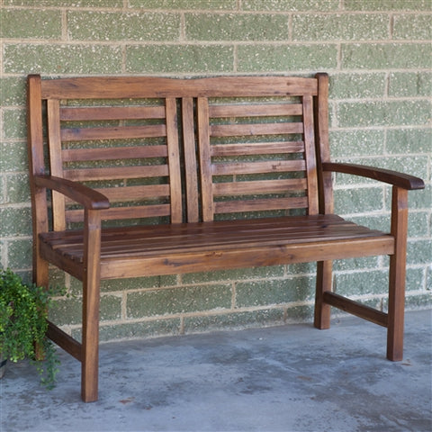 Outdoor 2-Seat Acacia Wood Garden Bench