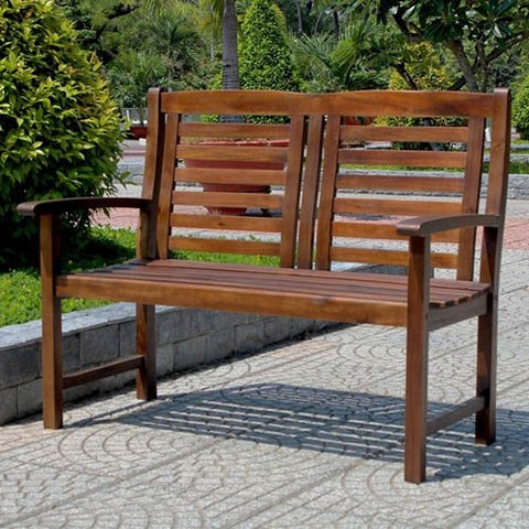 Contemporary Outdoor 2-Seat Wooden Garden Bench