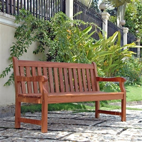 5' Outdoor Wooden Garden Bench w/Armrests