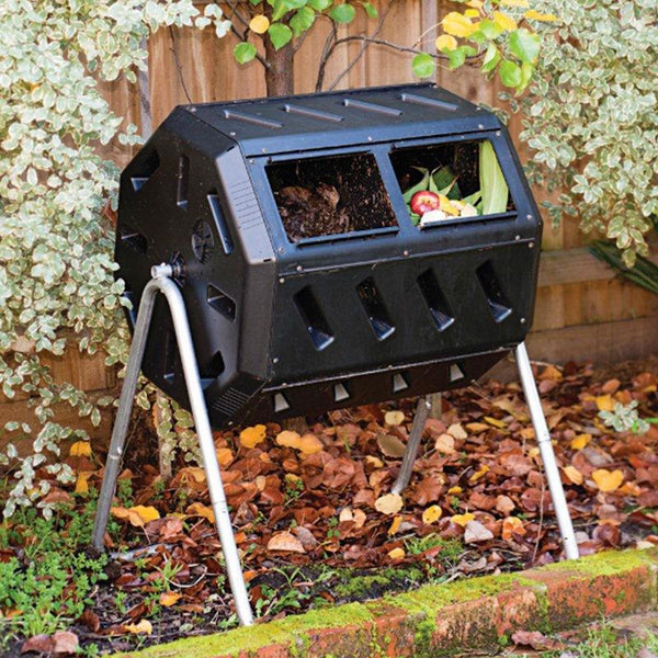 Rotating 37-Gallon 2-Chamber Tumbling Compost Bin Tumbler with Stand