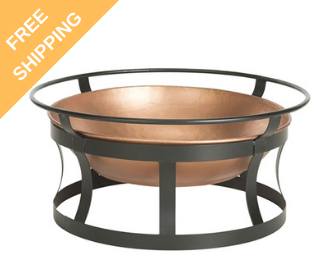 Copper Fire Pit w/Black Iron Stand, Grate, & Fire Poker