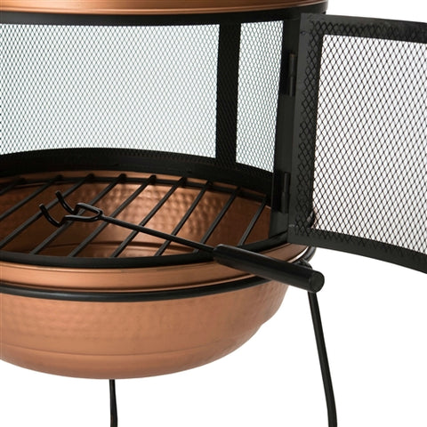 Hammered Copper and Iron Chiminea Fire Pit w/Stand