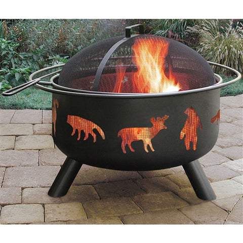 Large Black Steel Outdoor Fire Pit w/Bear, Deer, & Animals