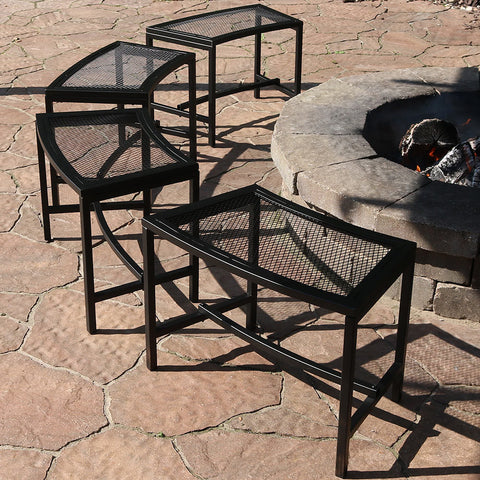 set of 4 fire pit mesh benches around fire pit