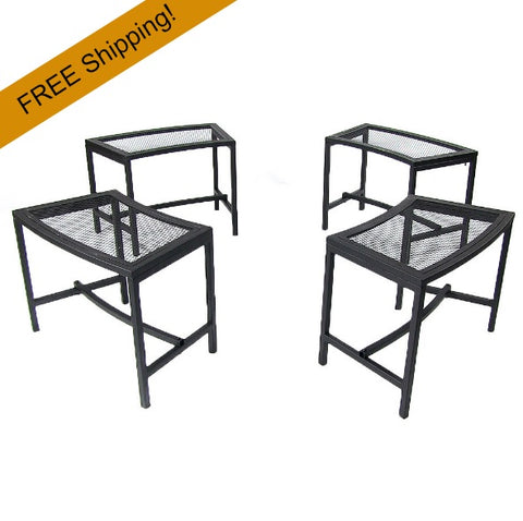set of 4 fire pit mesh benches