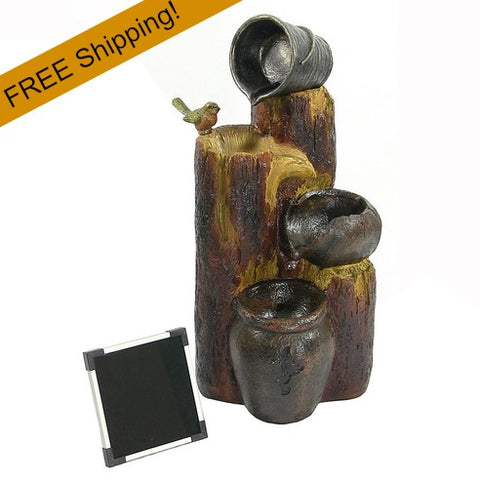 outdoor water fountain - logs & buckets