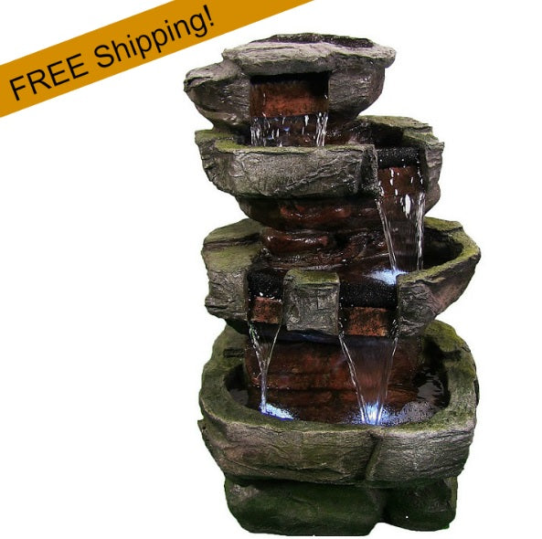 Outdoor water fountain tiered stone waterfall wled lights outdoor water fountain tiered stones workwithnaturefo