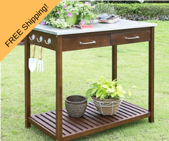eucalyptus wood potting bench with galvanized top