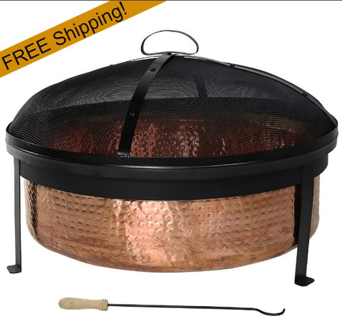 hammered copper fire pit w/screen, poker, & cover