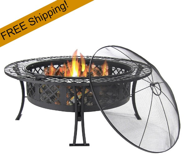 diamond weave pattern fire pit w/spark screen