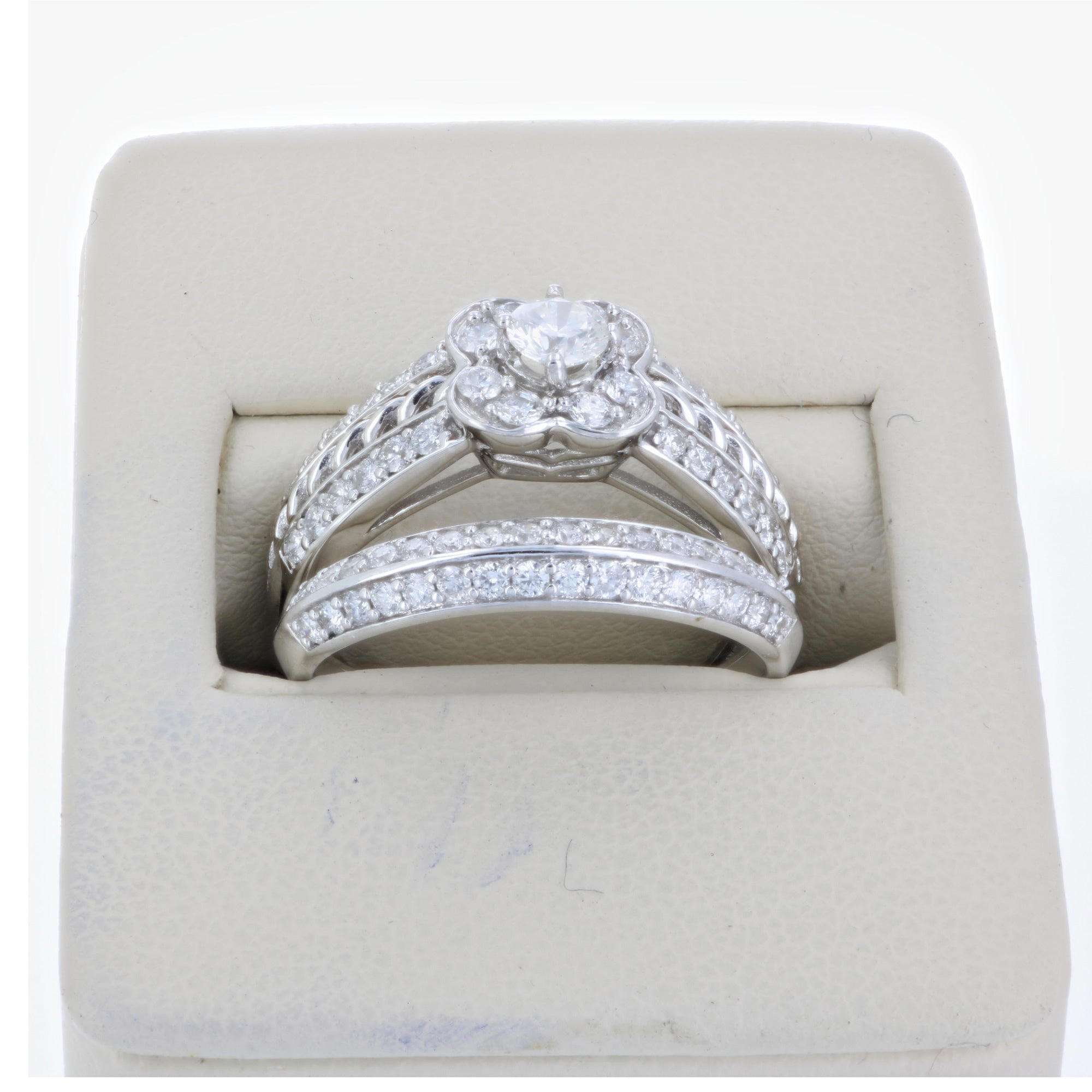 1 CT Diamond Flower Wedding Engagement Ring Set 14K White Gold Vir