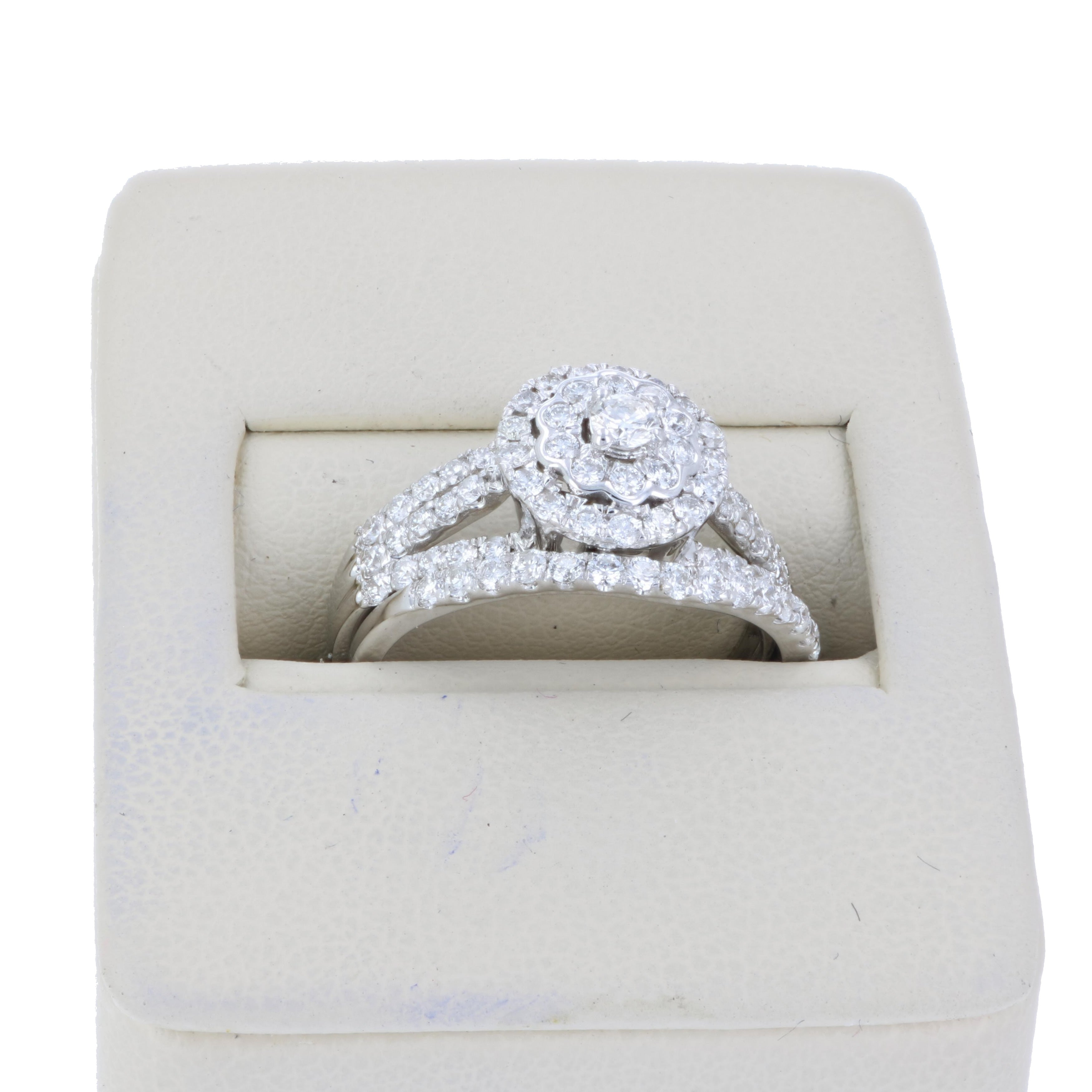 78 CT Diamond Prong Set Flower Wedding Engagement Ring Set 14K Gold
