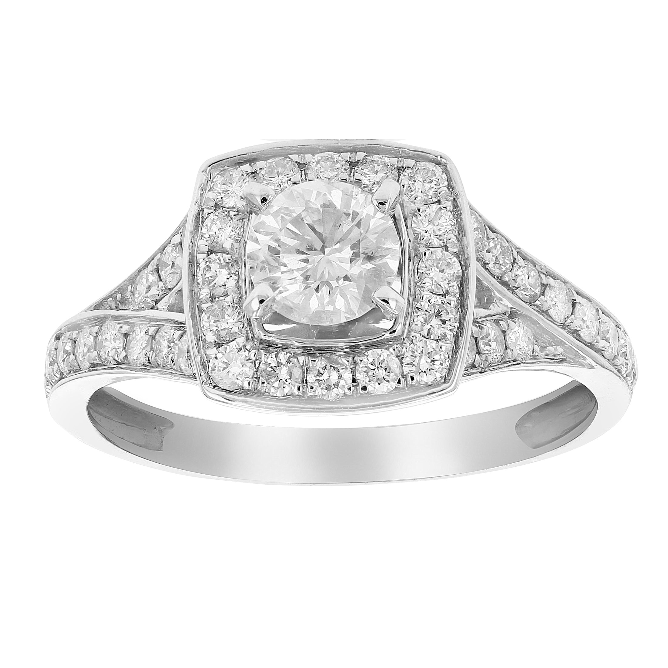 1 CT Diamond Halo 4 Prong Set Wedding Engagement Ring 14K White