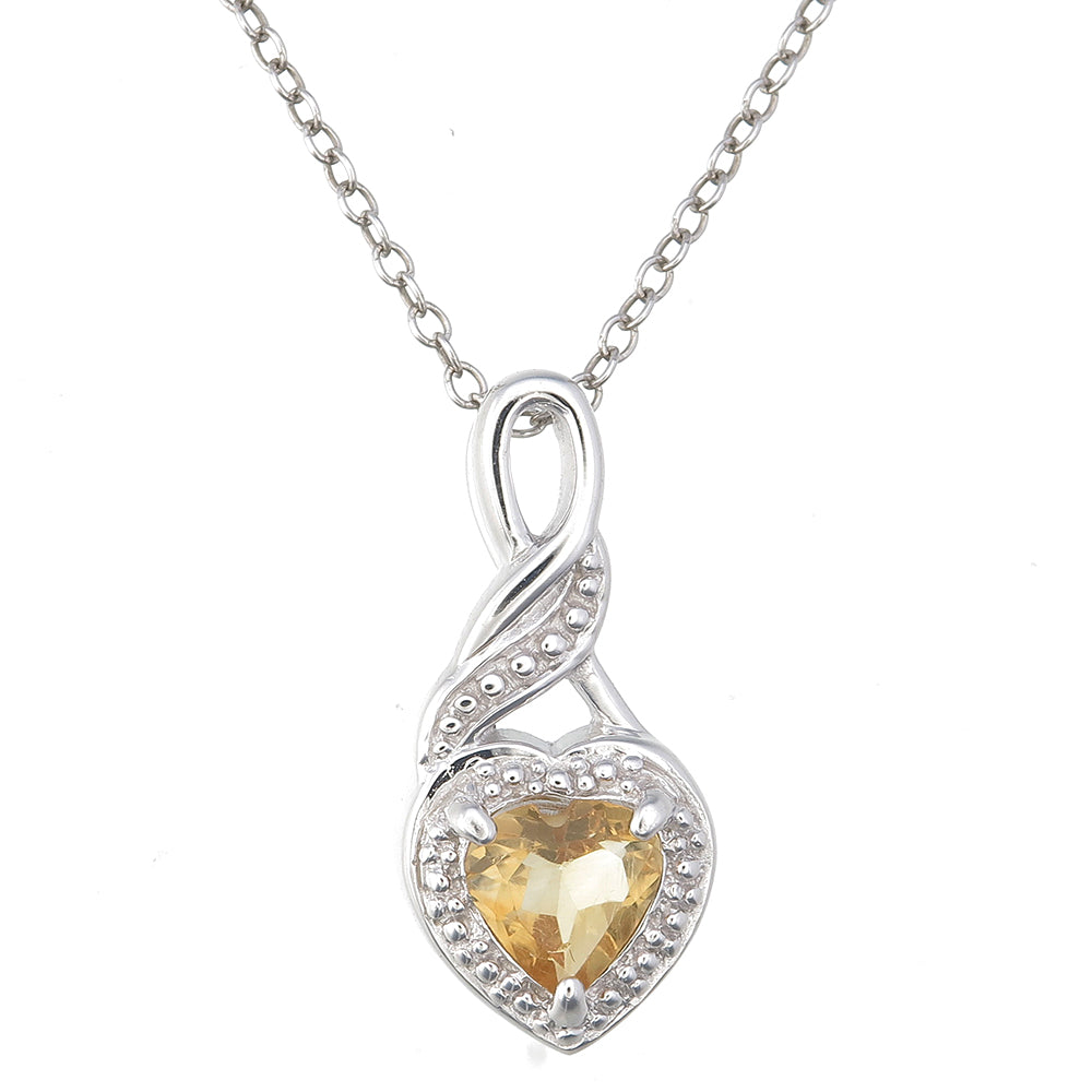 Sterling silver citrine heart pendant 040 ct with 18 inch chain sterling silver citrine heart pendant 040 ct with 18 inch chain mozeypictures Image collections