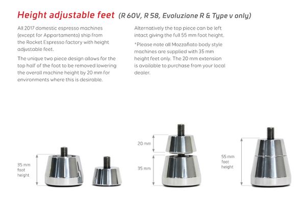 rocket espresso height adjustable feet image