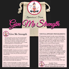 Give Me Strength healing crystal Reiki Gemstone collection description cards gift bag Spiritual Diva