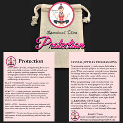 Spiritual Diva Jewelry Protection healing crystal gemstone description cards gift bag