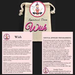 WISH Manifestation Healing Crystal Reiki Gemstone description cards gift bag Spiritual Diva Jewelry