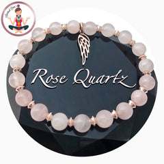rose quartz healing crystal reiki rose gold angel gemstone bracelet - Spiritual Diva Jewelry