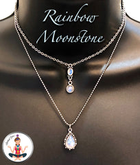 rainbow Moonstone Healing Crystal Reiki Choker Layered Gemstone Necklace - Spiritual Diva