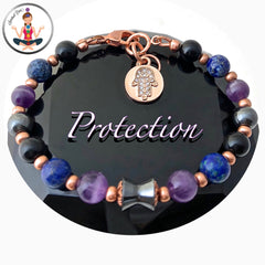 PROTECTION Energy Healing Crystal Copper Rose Gold Reiki Hamsa Hand Bracelet - Spiritual Diva Jewelry