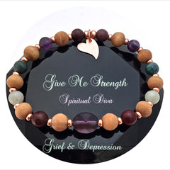 Spiritual Diva Jewelry STRENGTH Grief Depression Healing Crystal Reiki Olive Wood Bracelet