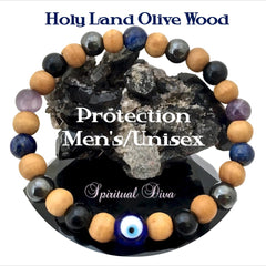 Protection healing crystal mens Olive Wood Evil Eye Bracelet Spiritual Diva