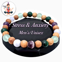 Stress and Anxiety Healing crystal Olive Wood Unisex Gemstone bracelet - Spiritual Diva Jewelry