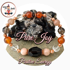 PURE JOY POSITIVE ENERGY Healing Crystal Copper Reiki Stretch gemstone Bracelet - Spiritual Diva Jewelry