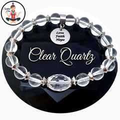 Clear Quartz Stainless Steel Energy Healing Crystal Reiki Gemstone Bracelet - Spiritual Diva Jewelry